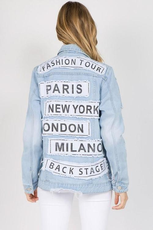 Letter Patched Distressed Denim Jacket