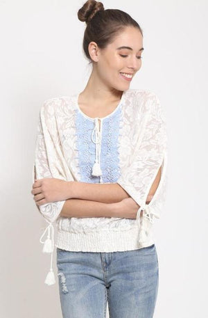 White with Baby Blue Lace Trim Boho Top