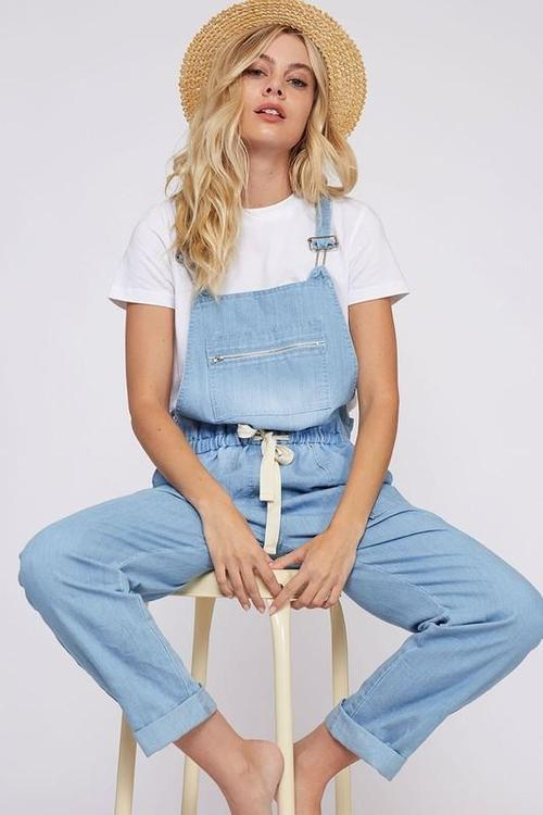 Light Denim Overall Jumpsuit