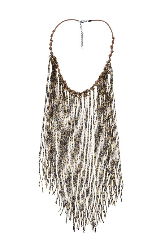 Long Beaded Fringe Necklace