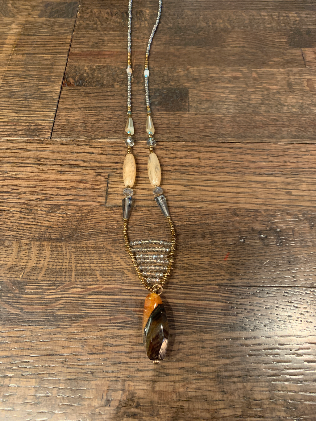 Long brown stone necklace