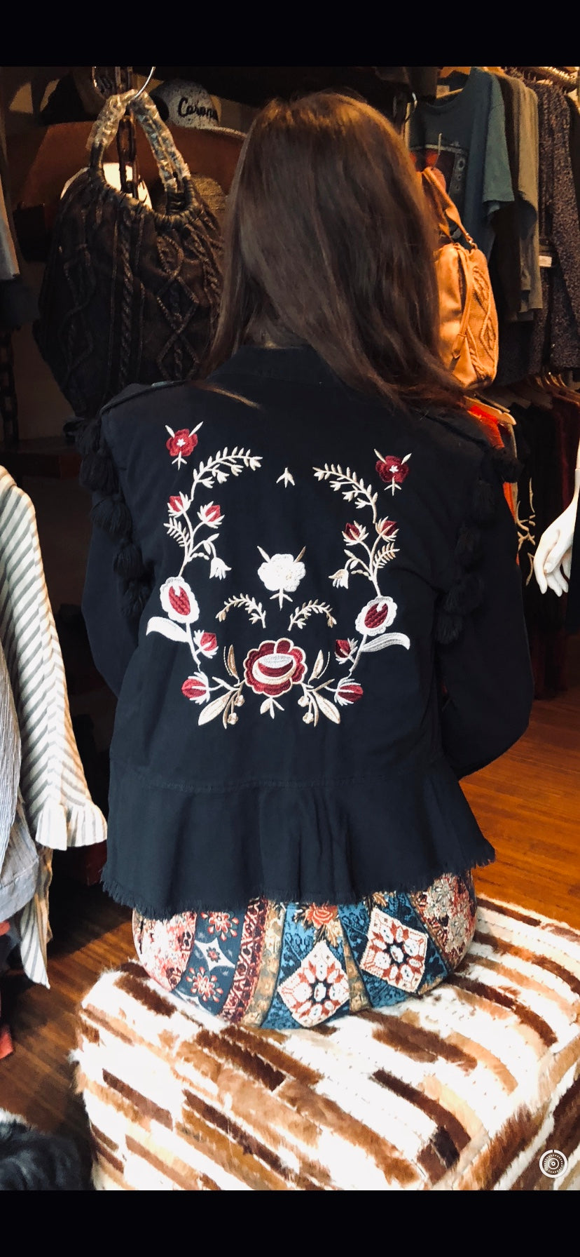 Black Embroidered Twill Pom Pom Jacket