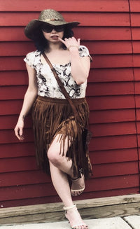 Short Dark Camel Suede Fringe Skirt