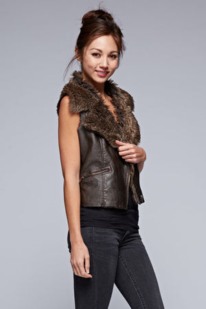Pleather Vest With Fur Collar