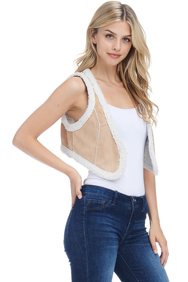 Suede shearly crop vest