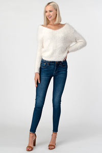 Ivory Furry Cropped V Neck Sweater