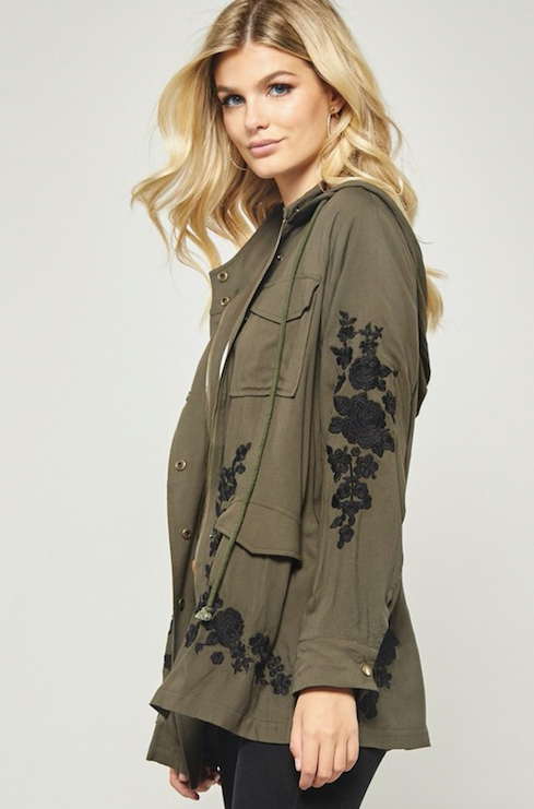 Olive Jacket With Black Embroidered Florals
