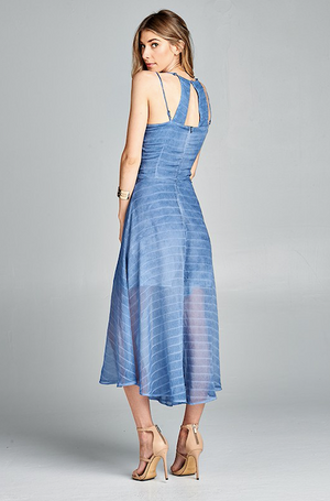 Indigo Blue Stripe With Washed Open Back Romper Maxi