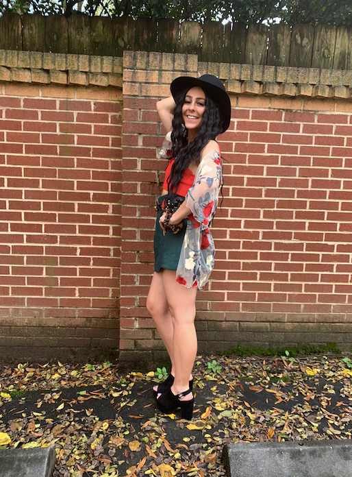 Red Embroidery Floral Kimono