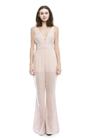 Blush Long Jumpsuit With Flower Detail