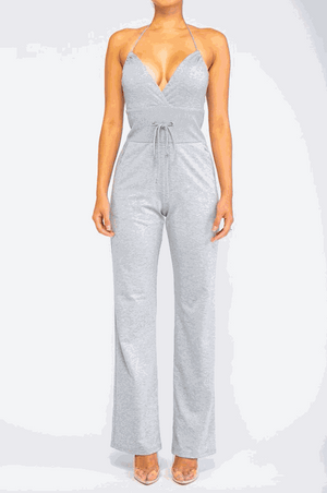 Halter v neck jumpsuit with drawstring waist