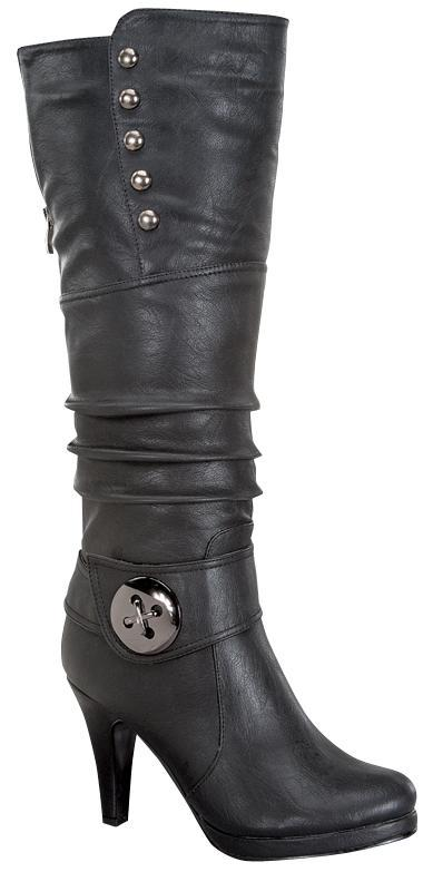 Black Knee Boot with Buckle