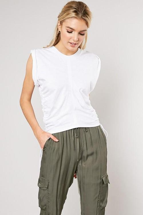 Crinkled Twist White T-Shirt