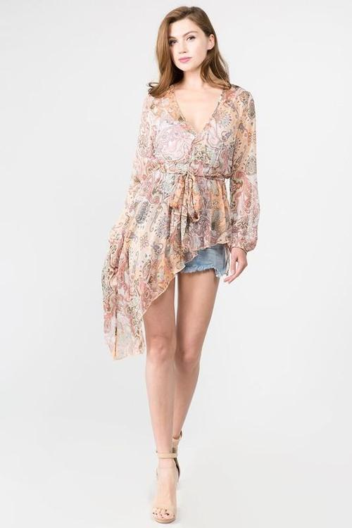 High Low Chiffon Boho Paisley Top