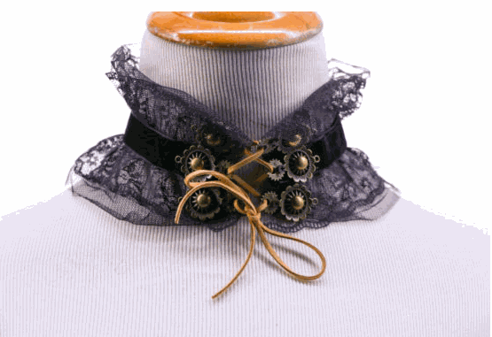 Lace Corset Choker With Gears