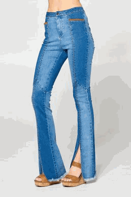 Bell Bottom Denim Pants With Edge