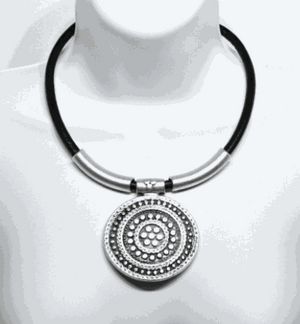 Handmade Leather and Circle Flower Necklace