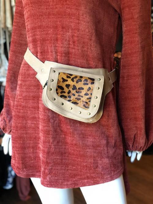 Tan Leopard Print Belt Bag