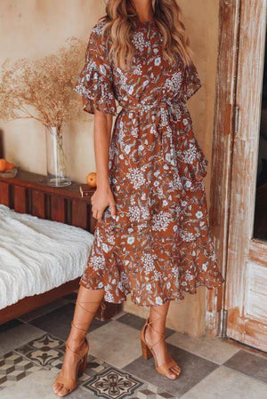 Fall Brown Floral Dress