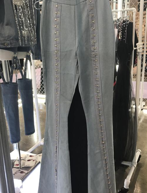 Metal Clip Lace Up Jeans