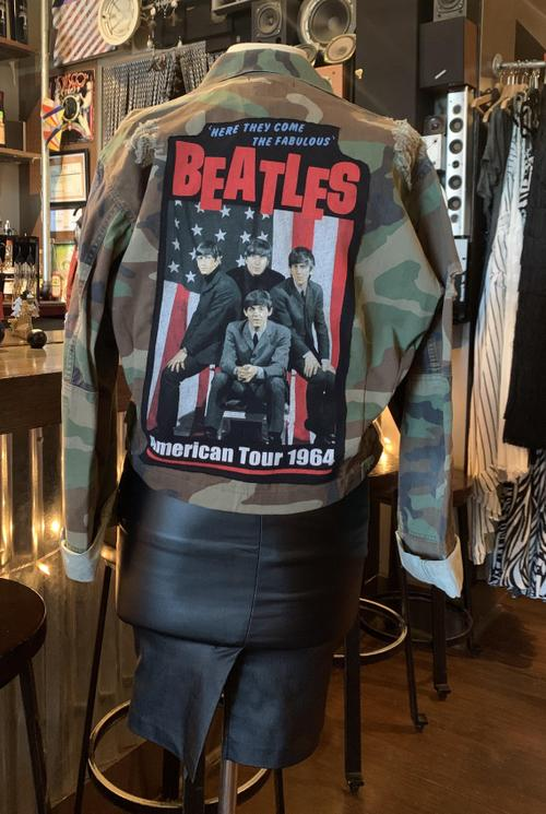 Beatles Distressed Cropped Camo Jacket