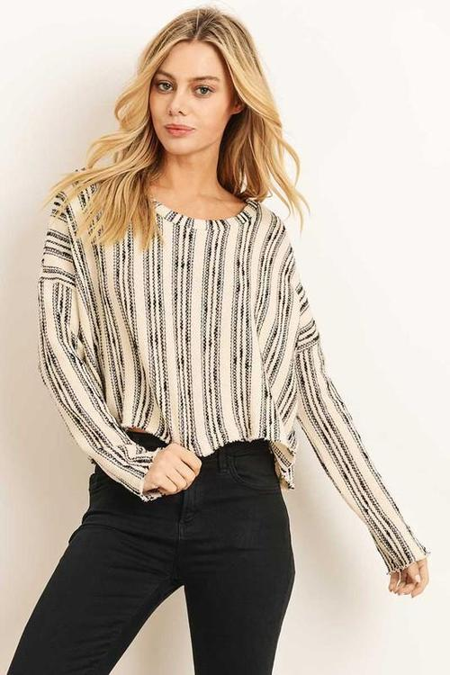 Cream Stripped Boho Long Sleeve