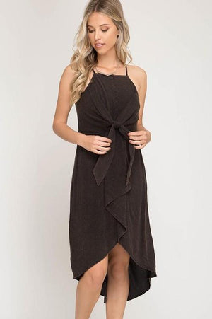 Garment Washed Woven Cami Midi Dress With Waist Tie