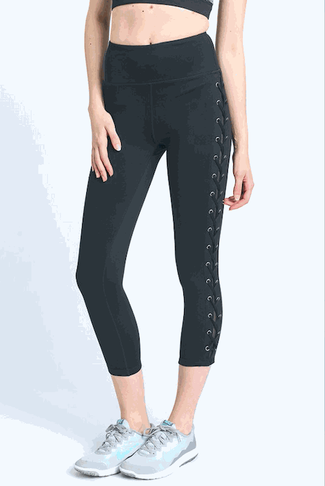 Side Mesh Leggings with Tie Detail