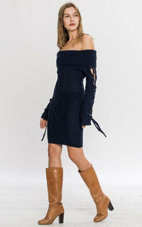 Off The Shoulder Cable Knit Dress
