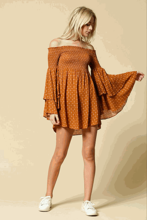 Rust Baby Off The Shoulder Dress