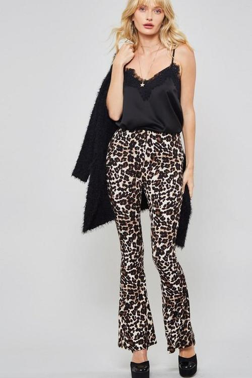 Animal Print Brown and Black Bell Bottoms