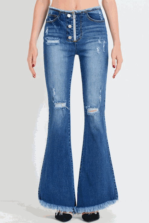 High Waist Edge Zip Front Flare Jeans