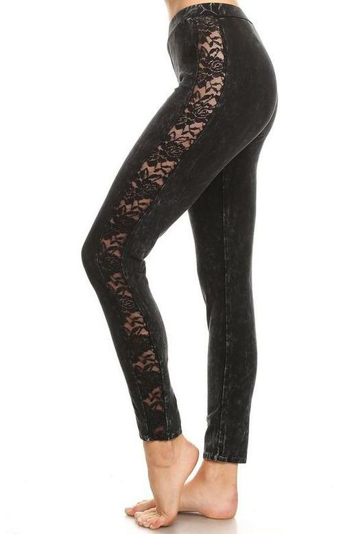 Mineral Wash Lace Contrast Legging
