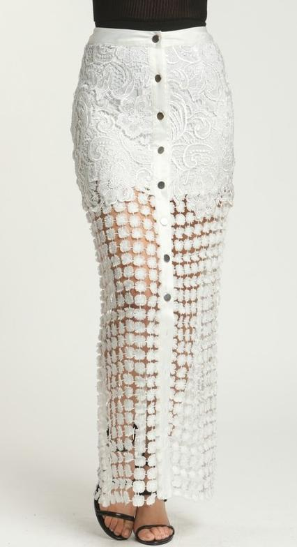 White Abstract Bohemian Skirt