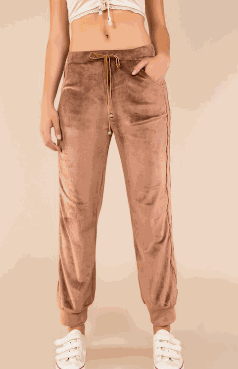 Cocoa Velvet Joggers Banded Ankle Cuffs