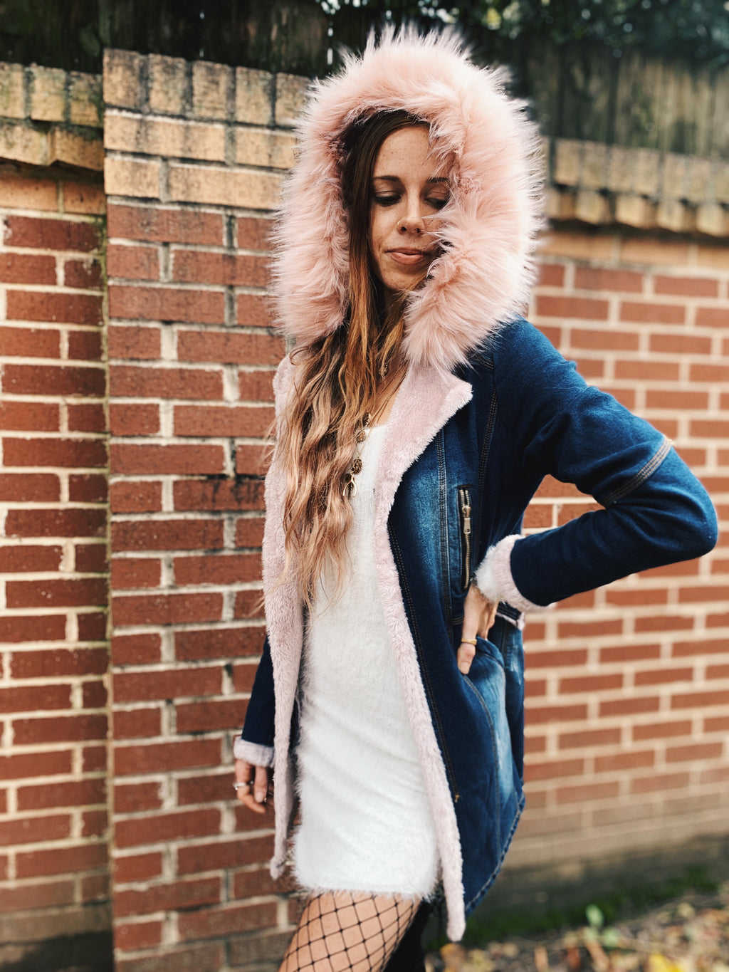 Pink Denim Faux Fur Denim Coat