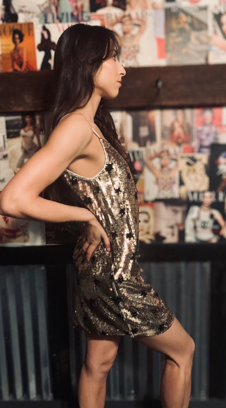 Gold with Black Star Sequin Dress