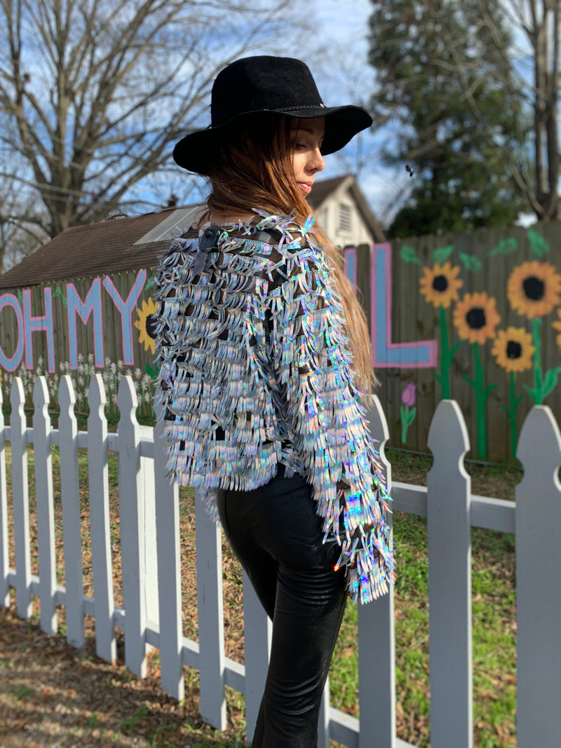 Dragon Scale Sequins Long Sleeve Jacket