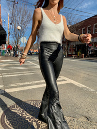 Black Leather Vegan Bell Bottoms