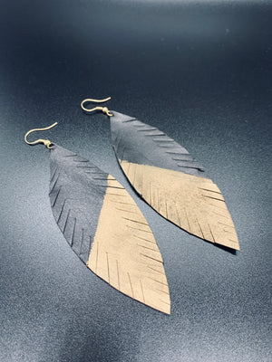 Black Gold Accent Feather Earrings