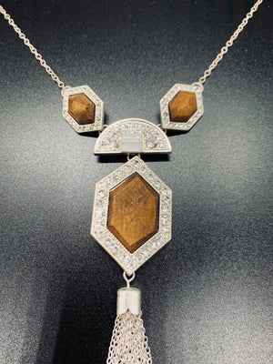 Art Deco Wooden Necklace