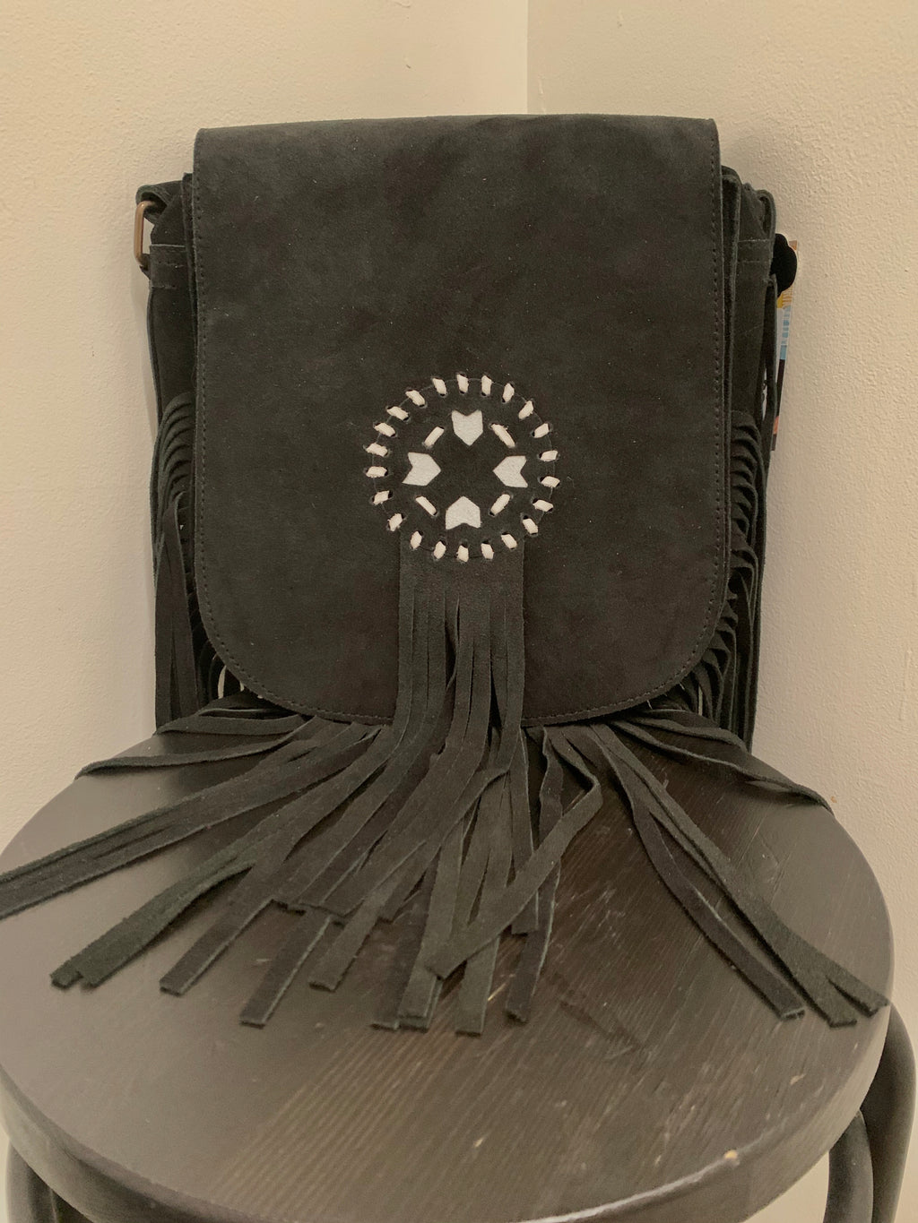 Tribal Suede Black Boho Handbag