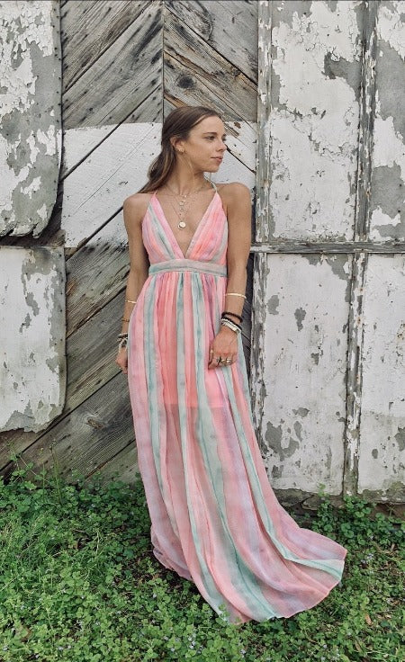 Pastel Stripes Maxi Dress