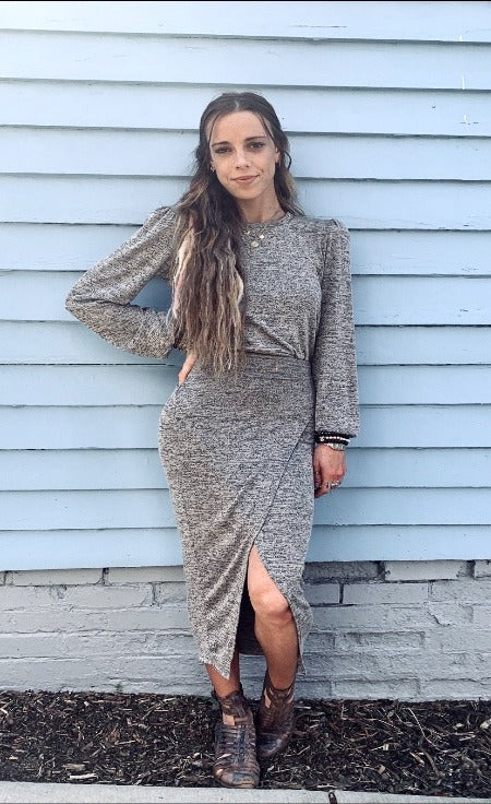 Taupe Long Sleeve Two Piece Set
