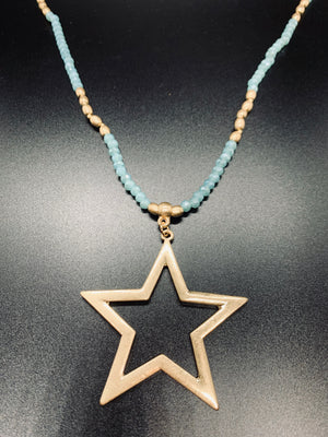 Mint Glass Bead Star Necklace