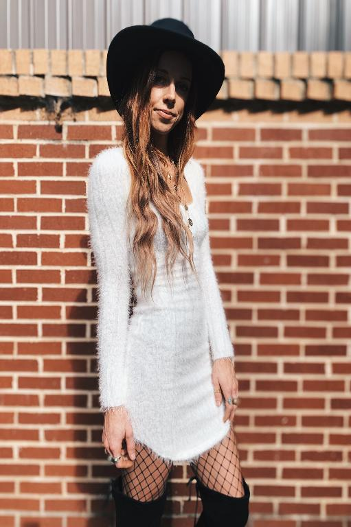 White Feather Yarn Furry Dress