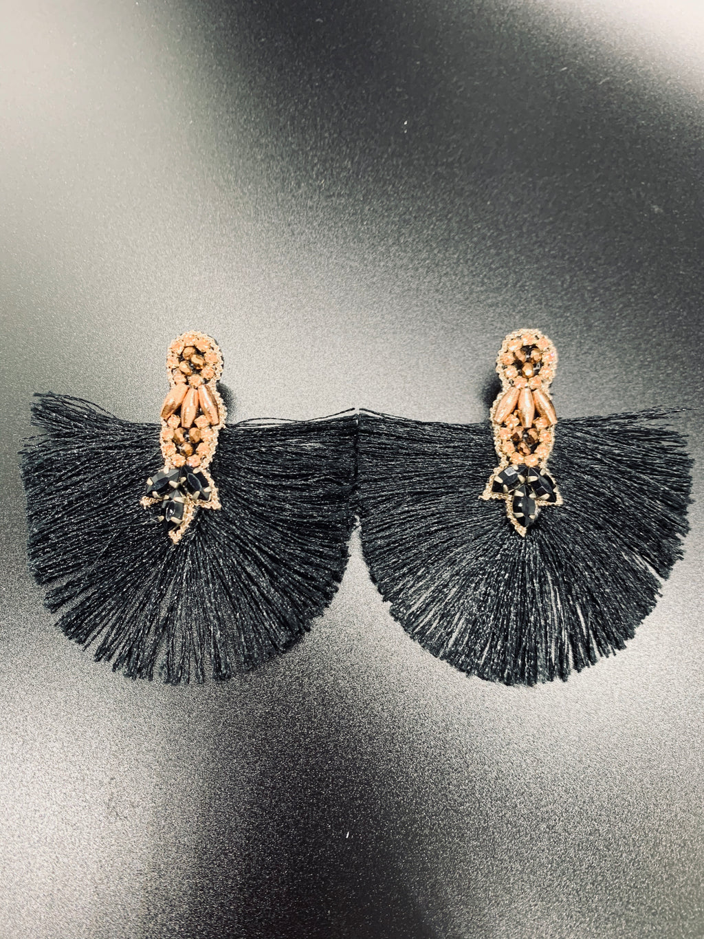 Black Fringed Fan With Gold Detail Earrings