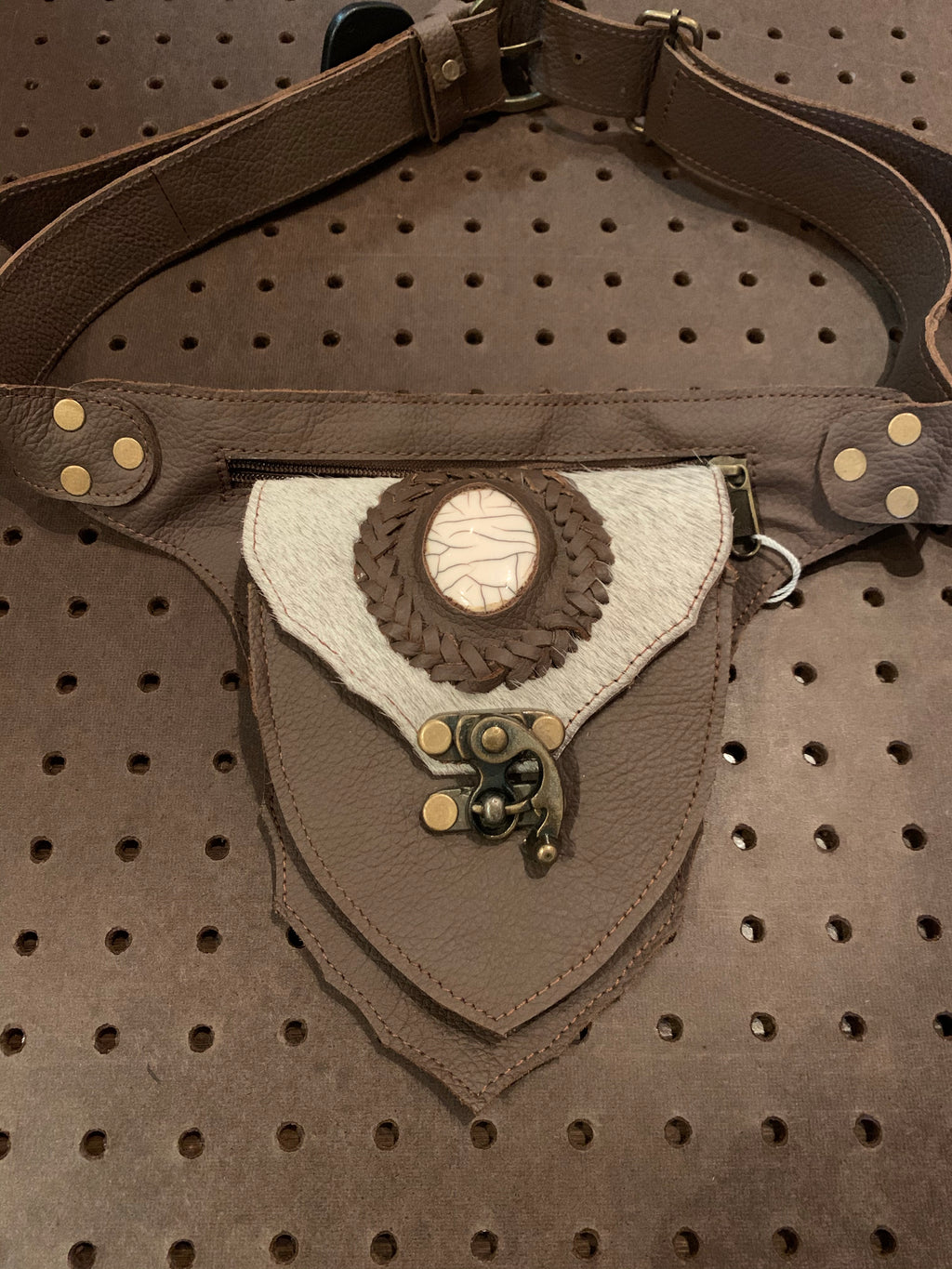 Brown with White Stone Fanny Waist Bag
