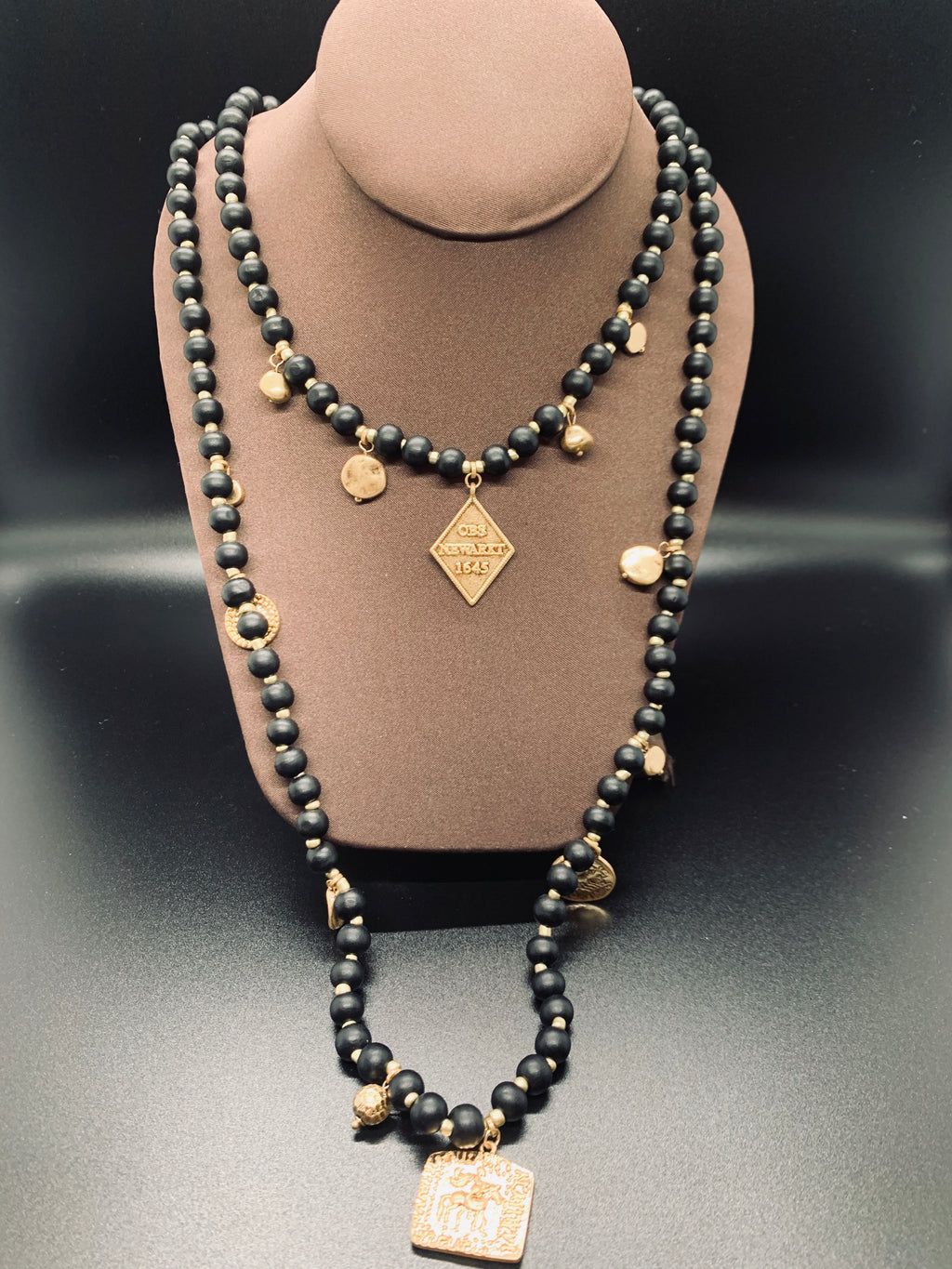 Black Ball Beaded Gold Metal Pendant Layered Necklace