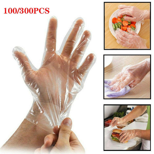 Top Quality 100/300PCS Plastic Clear Disposable Gloves Food Cleaning Catering Beauty Wholesale Quick delivery Dropshipping
